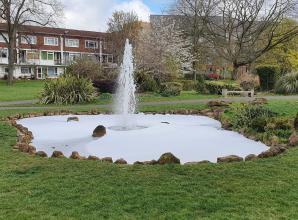 Maidenhead council 'disappointed' after park fountain filled with bubble bath